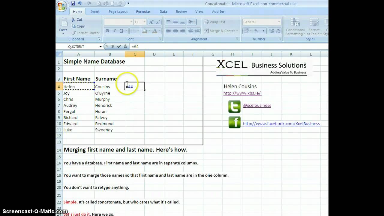 First And Last Name: Merging First Name And Last Name In Excel