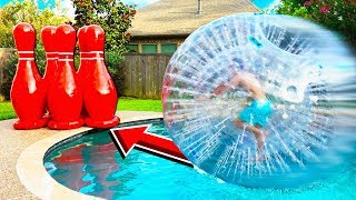 EPIC HUMAN BOWLING vs POOL CHALLENGE!