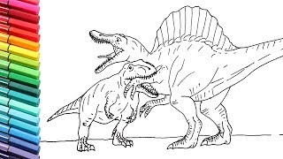 How to Draw Dinosaurs Battle T-Rex VS Spinosaur - Dinosaurs Color Pages for Children