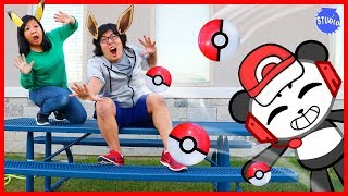 Pokemon Let's Go Catch Pokemon In Real Life Human Edition with Combo Panda!!!