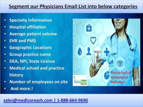 Buy Physician Email List, Doctor Email List at MedicoReach