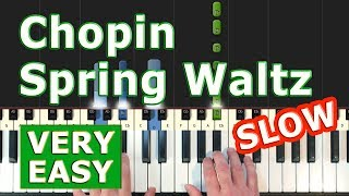 Chopin - Spring Waltz (Mariage d'Amour) - SLOW VERY EASY Piano Tutorial - (Synthesia)