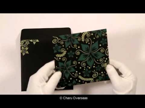 BLACK MATTE FLORAL THEMED - SCREEN PRINTED WEDDING INVITATIONS : CD-8240A