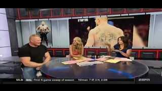 Brock Lesnar talks Summerslam, UFC, and disses Ronda Rousey's competition on ESPN 8/18/15