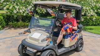 NERF BATTLE GOLF CART!
