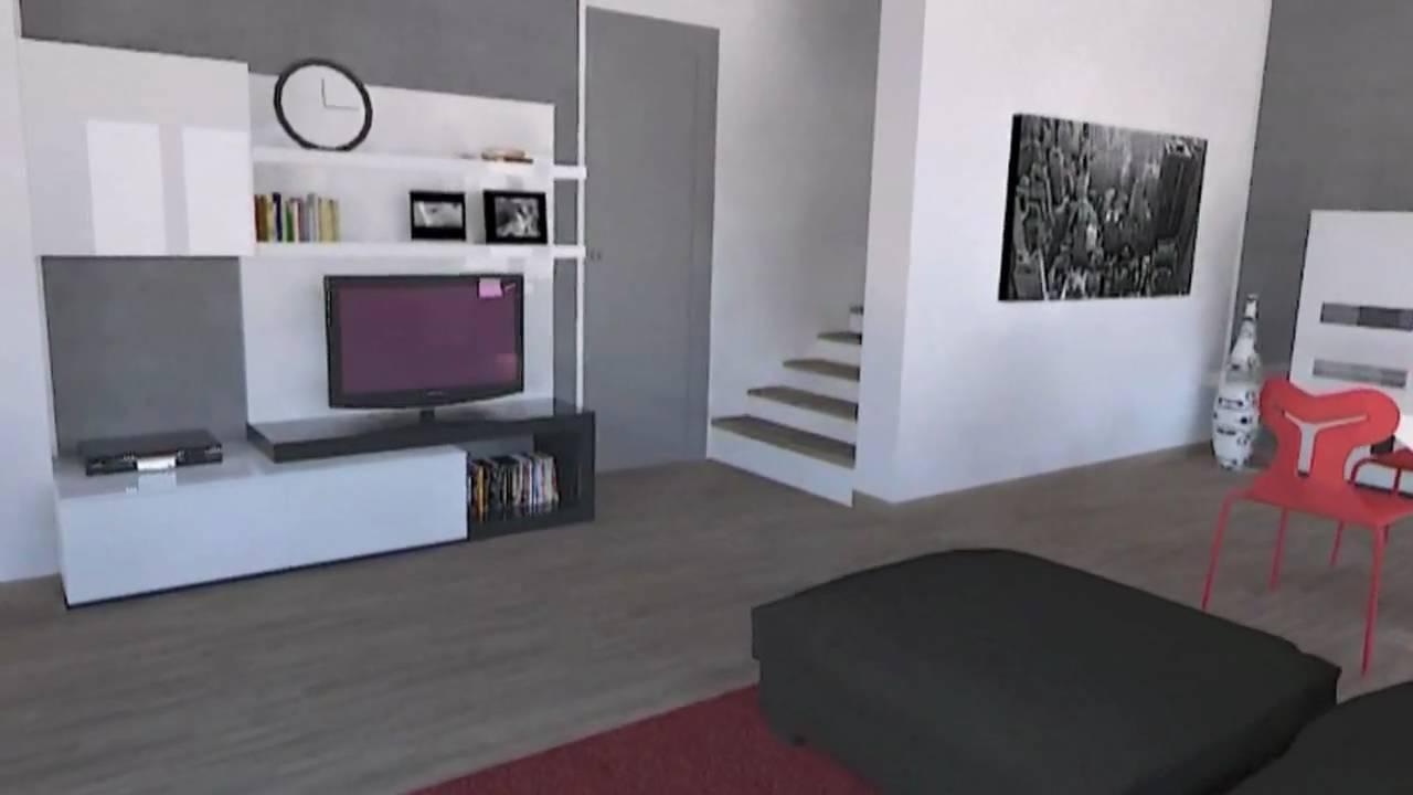 Progettazione 3d arredamento soggiorni living youtube for Progettazione mobili 3d