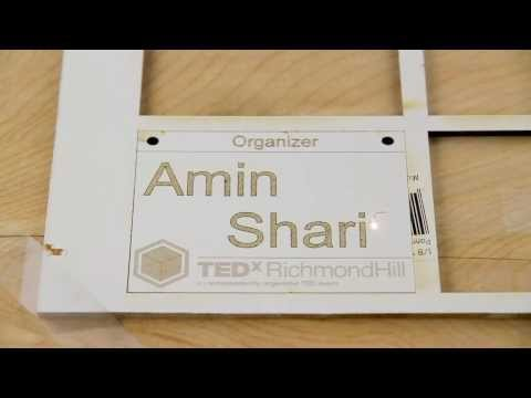 Laser-engraving of wooden name tag
