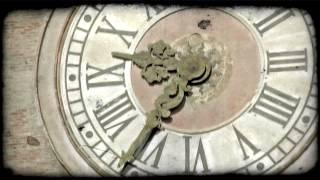Large Clock. Vintage stylized video clip.
