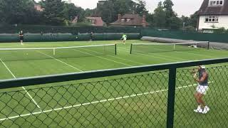 Millen Hurrion hitting with Rafael Nadal Wimbledon 2019