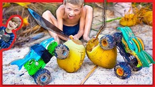 Monster Trucks and Axel Go Coconuts - Trucks for Kids
