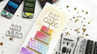 Use those backgrounds! WATERCOLOR BACKGROUND BIRTHDAY CAKE!