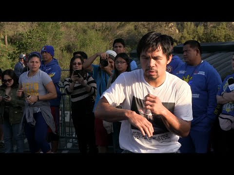 Watch Manny Pacquiao train like crazy for Floyd Mayweather fight- Full video workout