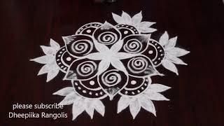 creative flower rangoli design freehand lilly flower kolam design daily easy rangoli designs
