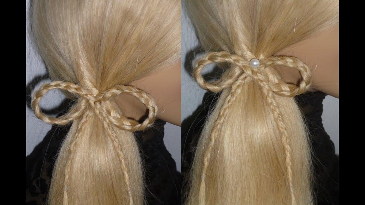 easy schleifen frisuren uni arbeit alltag schulfrisuren hair bow hairstyle peinados youtube. Black Bedroom Furniture Sets. Home Design Ideas
