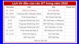 Lịch thi đấu bóng đá của các đội tuyển Việt Nam trong năm 2020 Đầu tiên là vòng chung kết u23 châu Á