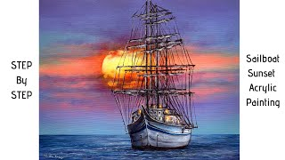 Sailboat Sunset STEP by STEP Acrylic Painting (ColorByFeliks)