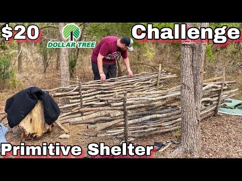 7 Day $20 Dollar Store Survival Challenge - Day 2 - Primitive Shelter