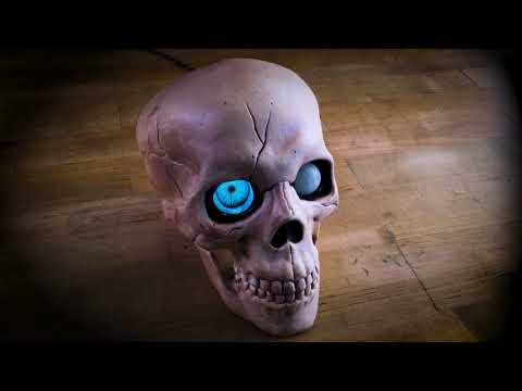 HalloWing All-Seeing Skull on Bench @adafruit @johnedgarpark #adafruit