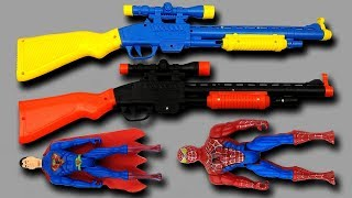 Learn Toys Name & Colors for Children – Box of Toys with Many Colorful New Toy Guns Collection
