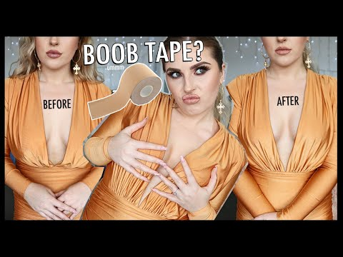 "DOES IT WORK!"" trying BOOB TAPE for the first time? ?"