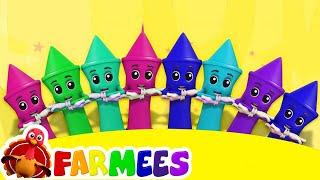 Crayones diez en la cama   Videos educativos   Preescolar   Farmees Español   Canciones Infantiles