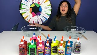 3 COLORS OF GLUE SLIME CHALLENGE CHALLENGE MYSTERY WHEEL OF SLIME EDITION ALL BY MYSELF