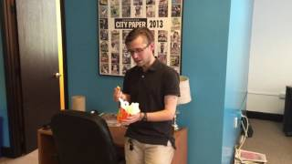 Burger King Mac n' Cheetos taste test by Charleston City Paper