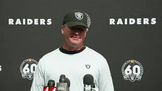 "Jon Gruden During The Bye Week: ""There's Not Time To Rest"" And Trent Brown Is Nursing A Calf Injury"