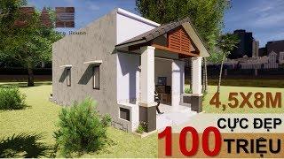NHÀ CẤP 4 Dưới 100 triệu [ 4,5x8m ] - Thiết kế nhà cấp 4 Đơn giản rẻ nhất |#SAH