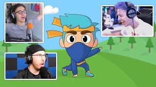 YOUTUBERS REACT TO MY FORTNITE ANIMATIONS! | Ninja, Kwebbelkop, GamingWithGarry