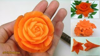 4 Beautiful Carrot Flower Garnishes | Salad & Food Designs for Hotel & Restaurant