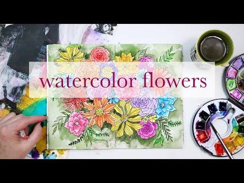 sketch watercolor flowers