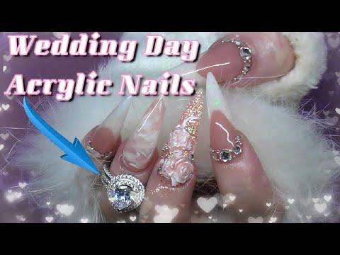 Beautiful Stiletto Wedding Day Acrylic Nails | ft Jeulia Jewelry | Plus My Fails! | ABSOLUTE NAILS