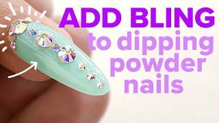 Spring Bling Dip Powder Nails with Gel Top Coat Using Chisel Dipping Powder