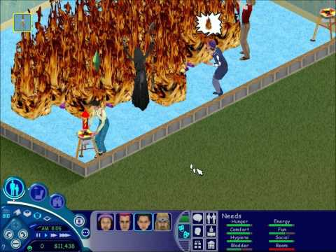 The Sims 1 - The Grim Reaper Watches Fireworks - The Sims ...