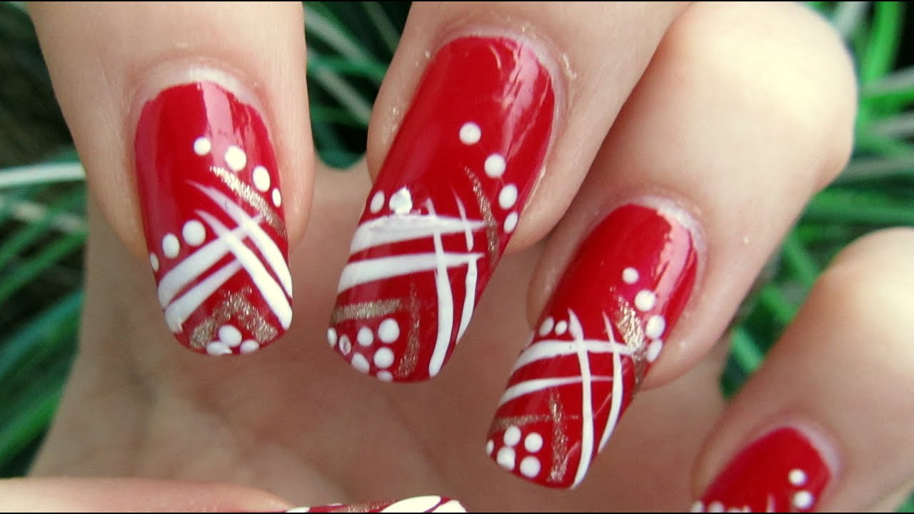 Easy Red Gold And White Abstract Design Nail Art Tutorial Homemade Tools Youtube