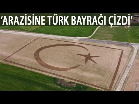 Çiftçi, 70 Dekarlık Arazisine Traktörle Türk Bayrağı Çizdi