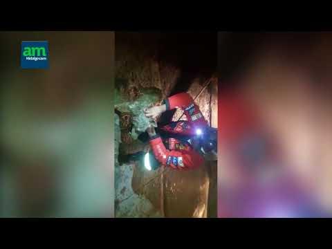 Bomberos de Huejutla rescatan a perro que atrapado en drenaje