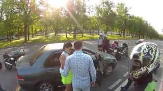 Bikers attack on the car! (with a surprise ending!)
