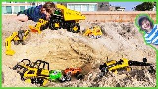 Monster Truck Garage with Construction Trucks