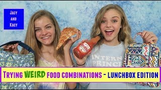 Trying WEIRD Food Combinations that People LOVE! ~ Back to School Lunchbox Edition ~ Jacy and Kacy