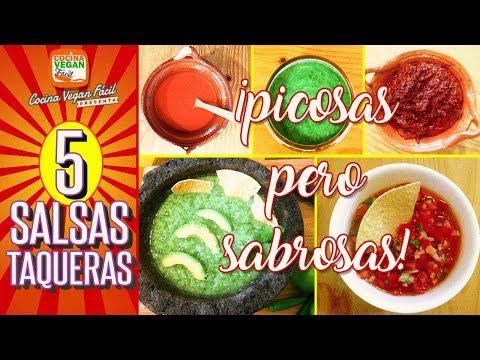 5 salsas taqueras ¡fáciles y rápidas! - Cocina Vegan Fácil