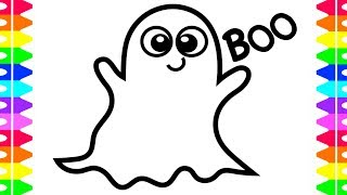 HAPPY HALLOWEEN COLORING! Learning How to Draw a Cute Ghost! Coloring Book for Kids |Colored Markers