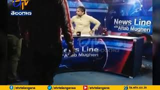Fight On Live TV in Pakistan: PTI Leader Fights With A Jou..