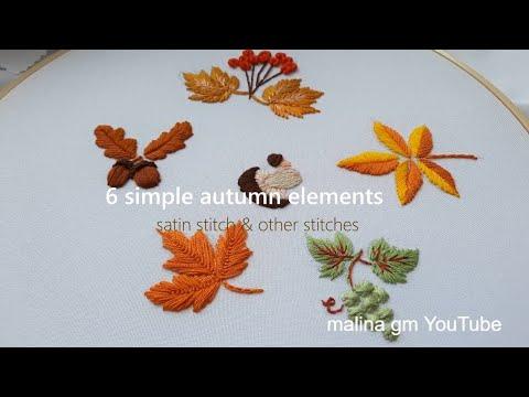 1 Amazing Embroidery Stitches / Autumn botanical collection / satin stitch & other stitches