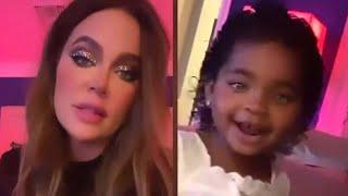 True Thompson INTERRUPTS Mom Khloe Kardashian's Video