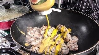 Greek Style Chicken Mustard. London Street Food of Leather Lane Market