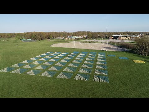 Aerial footage of 47,000 marker flag installed in the shape of a graduation cap.