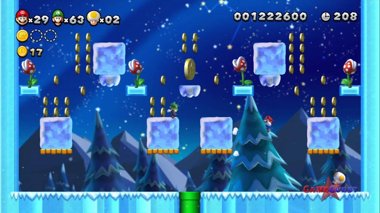 New super mario bros u star coins piranha plants on ice