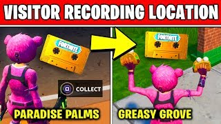 Collect the Visitor Recording on the Moisty Palms and Greasy Grove LOCATIONS (Fortnite Out of Time)